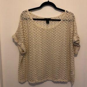 H&M Gold/Cream Lacy Oversized Shirt Sleeve Shirt
